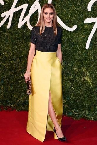 skirt yellow yellow skirt maxi skirt olivia palermo
