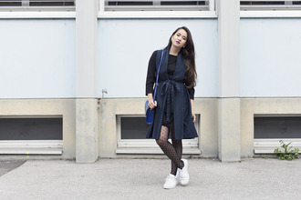 blaastyle blogger tights coat blue bag