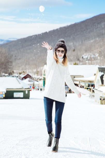 prosecco and plaid blogger jeans pom pom beanie turtleneck