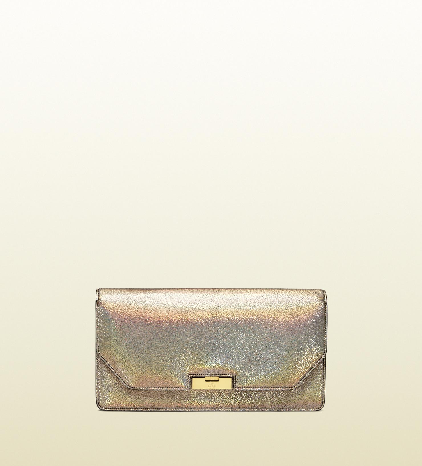 Gucci - gucci 58 crackled metallic leather clutch 338969DCK0T9605