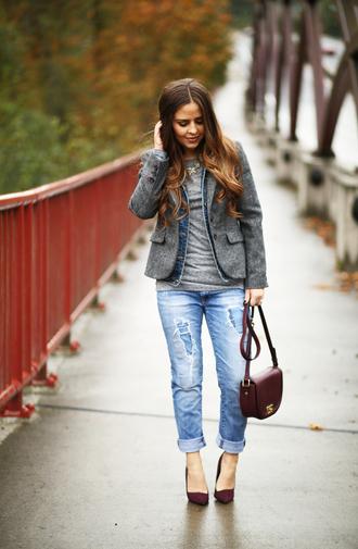 dress corilynn blogger ripped jeans grey jacket blazer