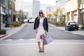gbo fashion blogger dress jacket shoes bag jewels midi dress white lace dress handbag grey bag pumps black leather jacket spring outfits