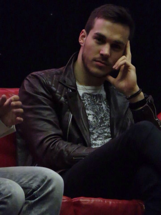 t-shirt chris wood handsome jacket white black brown leather