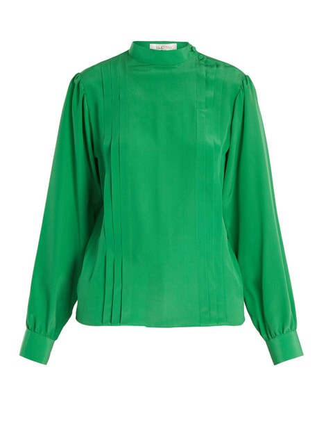 Valentino blouse pleated silk green top