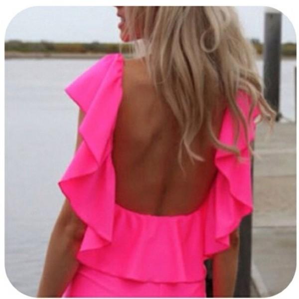 dress neon pink dress