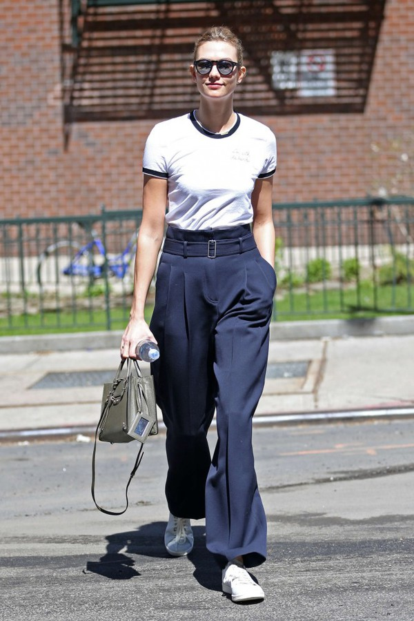 pants top karlie kloss sneakers sunglasses spring outfits streetstyle navy