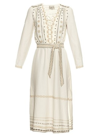 dress embroidered silk cream