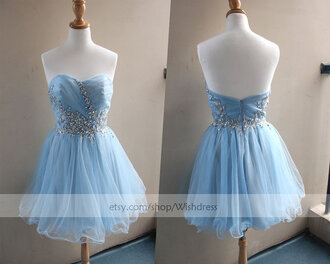 blue prom dress short prom dress mini prom dress homecoming dress sky blue dress sweet 16 dress cute dress strapless cocktail dress sweet 16 dresses