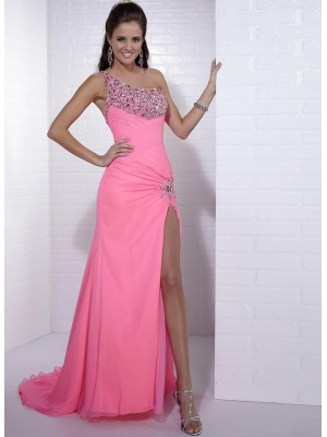 Buy Attractive Watermelon Beadings One-shoulder Sweep/Brush Train Prom Dress under 200-SinoAnt.com