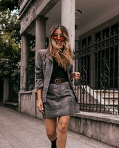 skirt,plaid skirt,plaid blazer,black boots,gucci belt,black t-shirt,sunglasses
