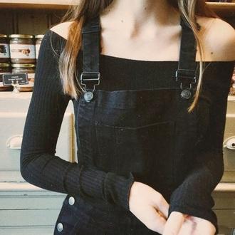 shirt black off the shoulder top off the shoulder overalls