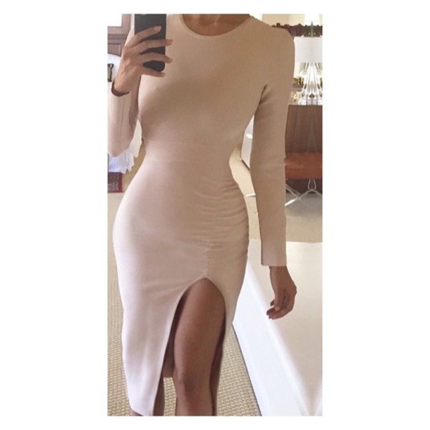 dress nude dress bodycon dress fashion style pretty slit skirt slit dress long sleeves