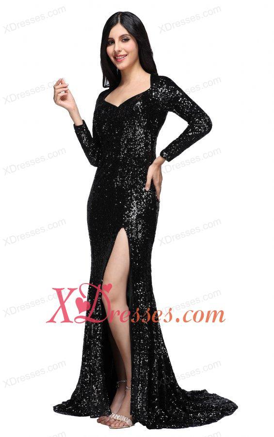 Column Black Square Long Sleeves Sequins High Slit Brush Train Prom Dress - $172.69