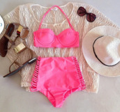 swimwear,pink,high waisted bikini,neon,push up swimwear,sweater,colorswitch,bikini,bikini top,swimwear two piece,white,perfect