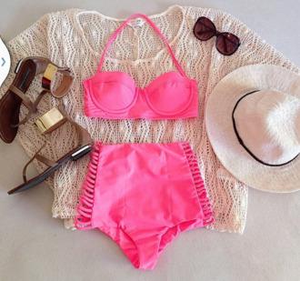 swimwear pink high waisted bikini neon push up swimwear sweater colorswitch bikini bikini top swimwear two piece white perfect