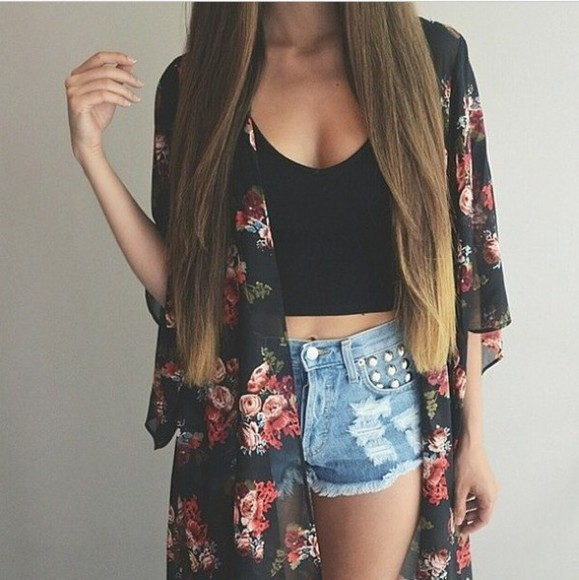 black romantic cute blouse boho gypsy shorts black crop top floral cardigan cardigan floral print kimono festival outfit