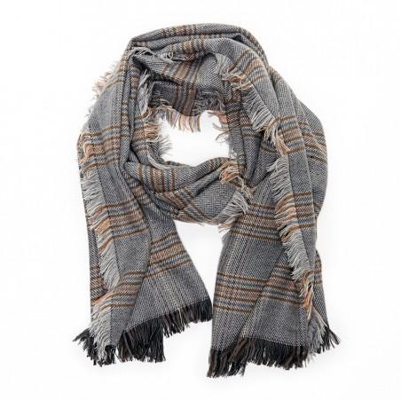 fringe check scarf