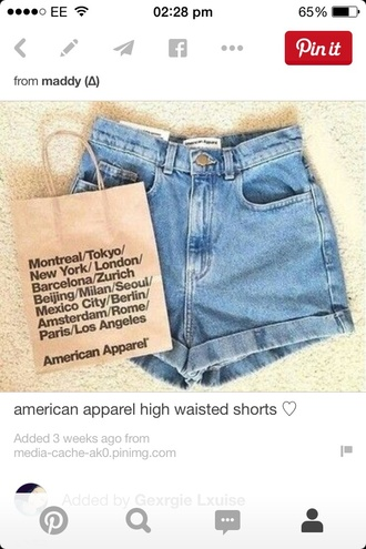 shorts american apparel high waisted cute jeans