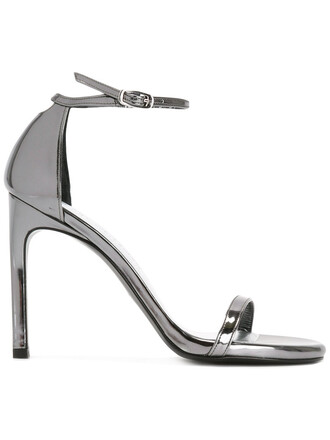 women sandals leather grey metallic shoes