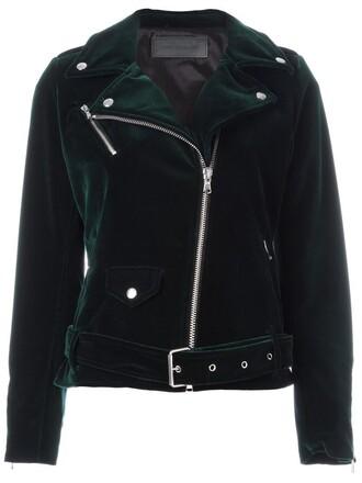 jacket biker jacket zip women cotton green