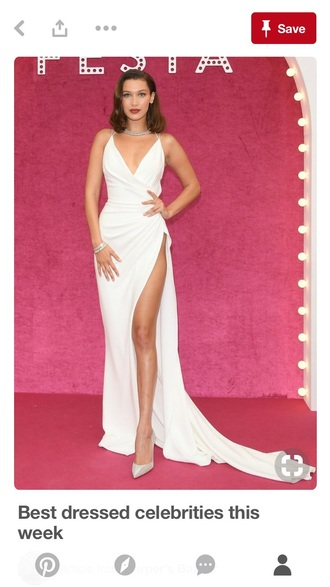 dress bella hadid white slit dress white formal dress