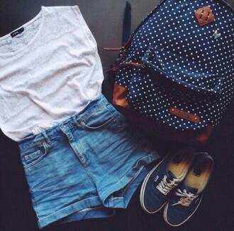 bag backpack back to school polka dots
