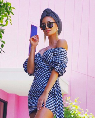 dress tumblr mini dress blue dress gingham off the shoulder off the shoulder dress earrings gold earrings jewelry gold jewelry sunglasses spring outfits spring dress turban accessories accessory wrap dress