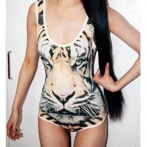 Tiger Print Leopard Elastic Bodysuit  on Luulla