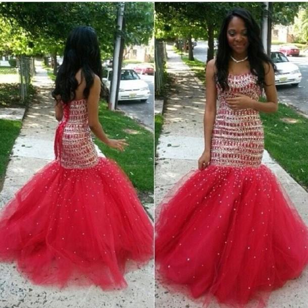 dress red dress sequin dress diamonds sparkly dress floor length dress