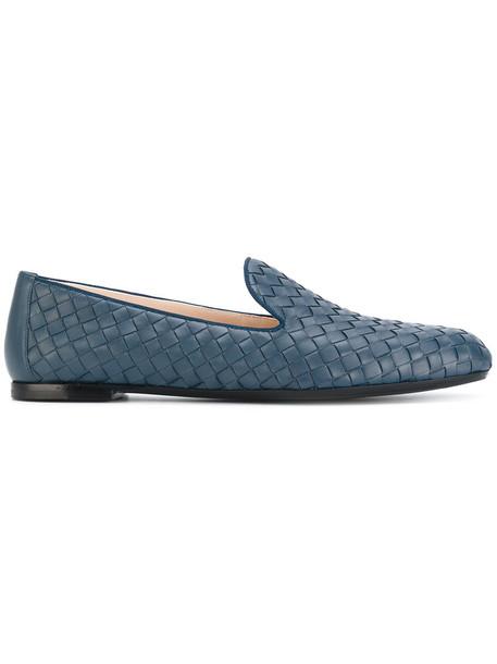 Bottega Veneta women leather blue shoes