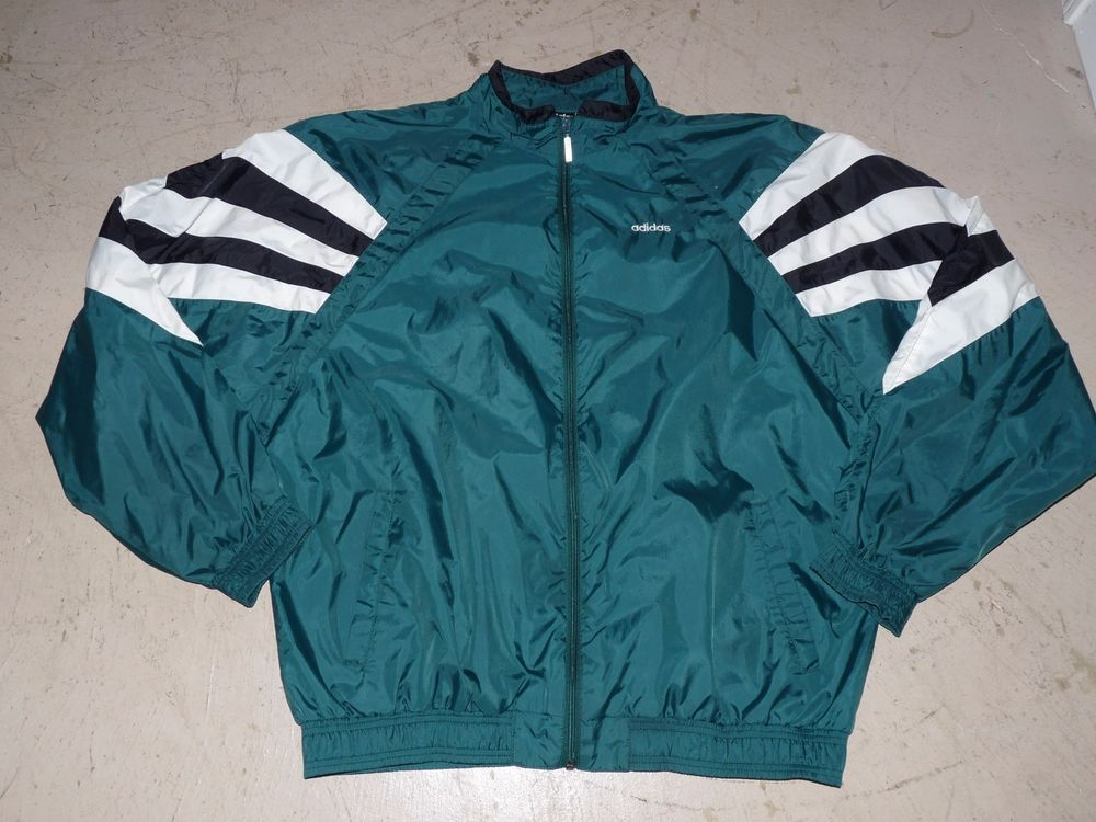 EUC VTG 90s Adidas Men's Warm Up Track Running Windbreaker Jacket Green White XL