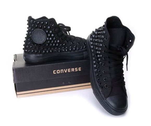 shoes black studded shoes converse