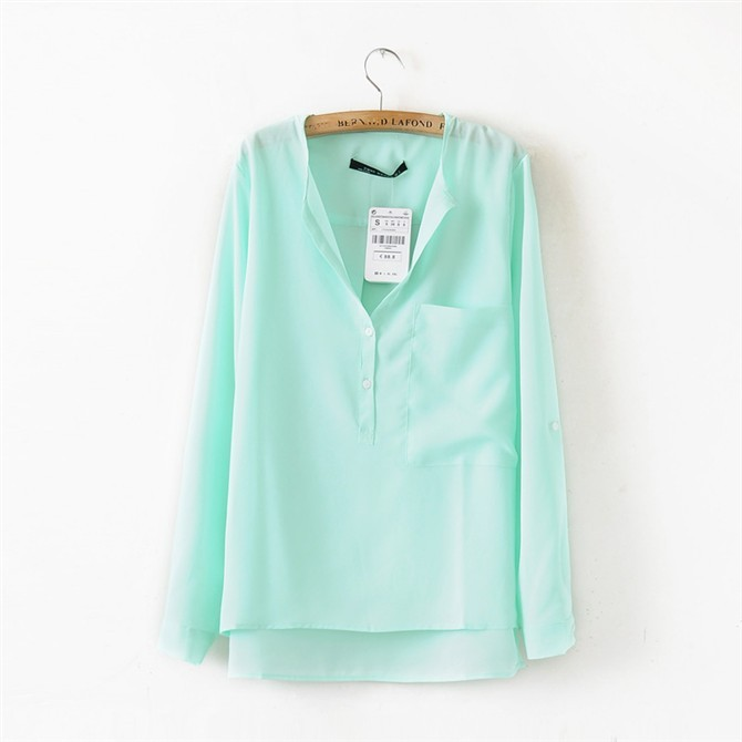 Fashion pocket fresh shirt top bouse