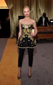 bag,pants,pumps,clutch,kate bosworth,strapless,bustier,bustier dress,Golden Globes 2016