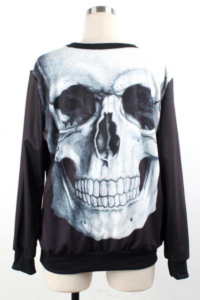 Sporty Skull Graphic Sweatshirt - OASAP.com