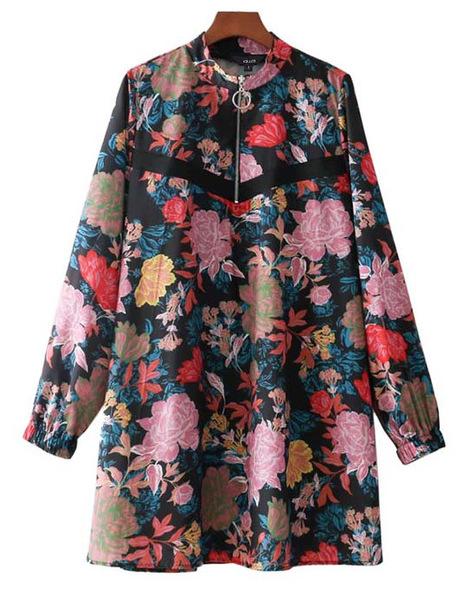 dress brenda-shop tunic tunic dress tunique floral flowers floral dress retro
