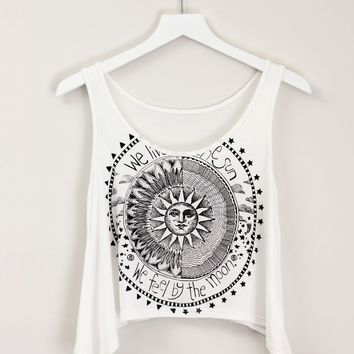 SUN & MOON CROP TOP on Wanelo