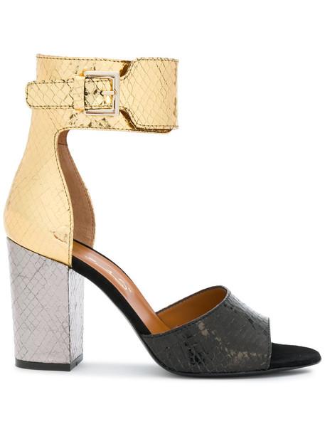 VIA ROMA 15 snake women snake skin sandals leather grey metallic shoes