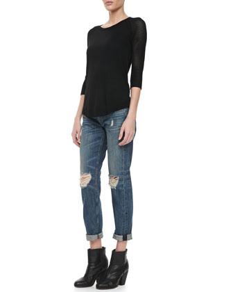 rag & bone/JEAN Lexie Perforated 3/4-Sleeve Sweater & Boyfriend Buckley Ripped-Knee Jeans - Neiman Marcus