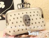 bag,skull,pink,crown,soft pink