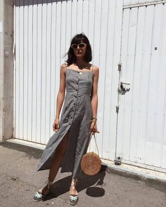 dress tumblr midi dress gingham slit dress button up button up dress bag round bag espadrilles sunglasses spring outfits spring dress gingham dresses