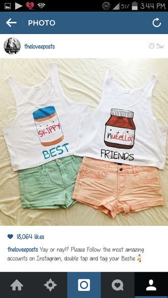 t-shirt shirt blouse skippy and nutella best friend s shirt can you find these shirts tank top white pink blue