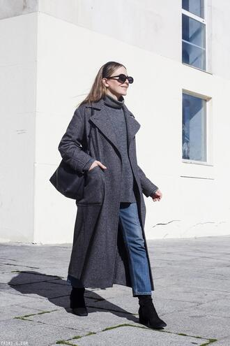 trini blogger sunglasses coat sweater jeans shoes bag jewels turtleneck sweater grey sweater ankle boots grey coat spring outfits winter outfits