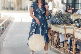 live more beautifully blogger dress jewels hat bag shoes blue dress round bag spring outfits