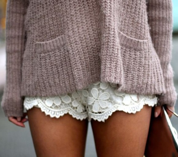 shorts white lace white lace shorts lace shorts white shorts sweater seater