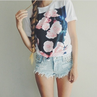 top t-shirt white t-shirt floral shirt floral t shirt studs shirt floral rose cute love pink girly style flowers