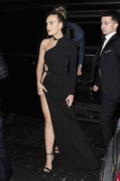 dress,asymmetrical dress,maxi dress,black dress,slit dress,sandals,perrie edwards,prom dress,gown