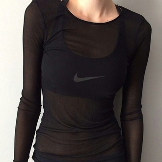 top black chiffon sheer see through clear long sleeves tight workout winter outfits excersize