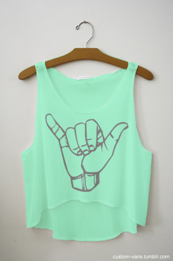 t-shirt bag tank top mint hang loose crop tops clothes green crop tops shirt mint green shirt light mint tank top light mint tank top with print cut off shirt teal light blue crop tops summer sleeveless groovy blouse hang loose crop the hunger games musthave sighs turquoise blue cute shirt beautiful top sassy since birth black and white hangloose rock on tumblr cute seafoam adobs