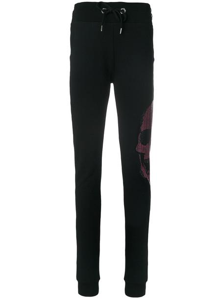 pants track pants skull women embellished cotton black